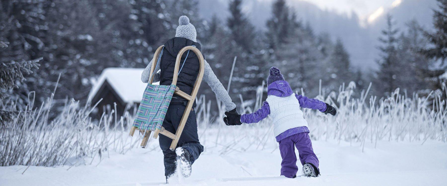 Hochfeldernalm Familie rodeln